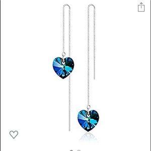 Sterling Silver Swarovski Crystal thread earrings